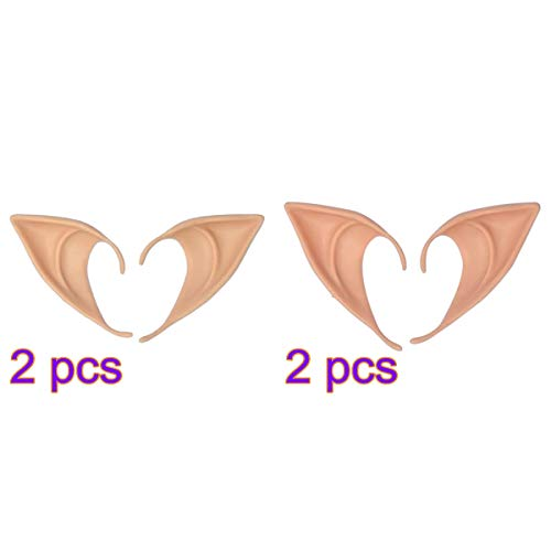 XINdream 4 Pairs Halloween Elf Ears, Soft Rubber Cosplay Props Fairy Tale Goblin Fairy Fake Masks Anime Theme Masquerade Party Accessories Nature Color Skin Tone Short Long Size]()