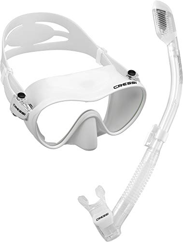 Cressi Scuba Diving Snorkeling Freediving Mask Snorkel Set, White