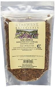 Starwest Botanicals Sassafras Root C/S 4 Ounces Herb Plant,