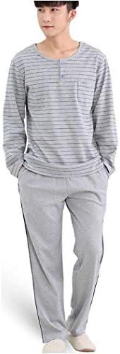 メンズコットンロングスリーブポケット快適なナイトウェアパジャマセットストライプパジャマ2つのピースパジャマ部屋着トップス&パンツ (Color : A, Size : XXXL)