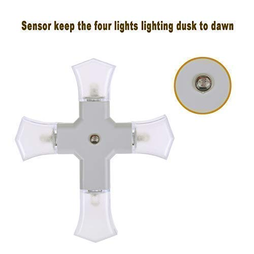 Cross LED Night Light Four Shield Lamp with Dusk to Dawn Sensor for Hallway, Kitchen, Bathroom, Bedroom, Stairs or Any Dark Room, Daylight White,0.3W/pc,2-Pack