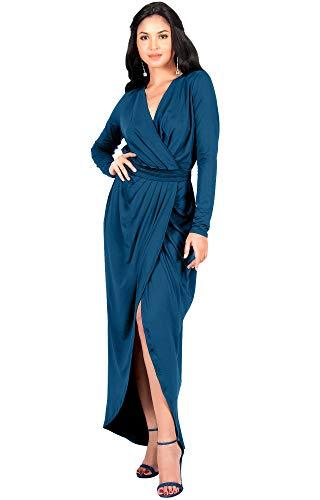 Jade Jersey V-neck - KOH KOH Womens Long Sleeve Full Length V-Neck Sexy Wrap Empire Waist Formal Winter Fall Cocktail Wedding Evening Gown Gowns Maxi Dress Dresses, Dark Blue Jade L 12-14