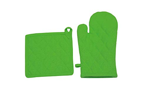 - Oven Mitt & Pot Holder Set, Pack of 2, Premium Heat resistant kitchen wares, cotton fabric quilted, Lime green, plain, Machine Washable and Heat Resistant Pocket Mitts for Kitchen Cooking and Baking