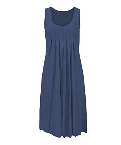 Loose Swing Women's Lephsnt Blue Pleated Cobalt 4 BBX Sleeve Dress 3 Casual w7TaxYYZ