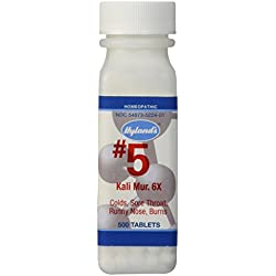 Hyland's Cell Salts #5 Kali Muriaticum 6X Tablets, Natural Relief of Colds, Sore Throat, Runny Nose, and Burns, 500 Count