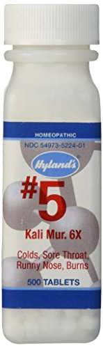Hyland's Cell Salts #5 Kali Muriaticum 6X Tablets, Natural Homeopathic Relief of Colds, Sore Throat, Runny Nose, and Burns, 500 Count