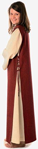 mit naturbeige mit Rot Mittelalter reine Skapulier S Beige Damen Leinenstruktur Kleid XL HEMAD Baumwolle OSxcwUIW1n