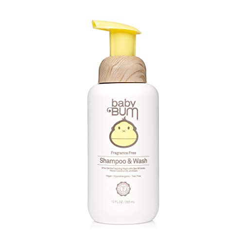 Baby Bum Shampoo & Body Wash – Fragrance Free - Tear Free – Foaming Soap for Sensitive Skin with Nourishing Coconut Oil - 12 FL OZ