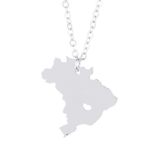 Silver Tone Stainless Steel Map Pendant Necklace  We Love Brazil  Brazil