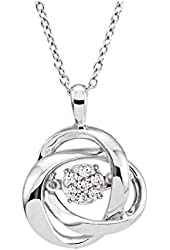Dancing Diamond Pendant with Chain in Sterling Silver (1/10 cttw)