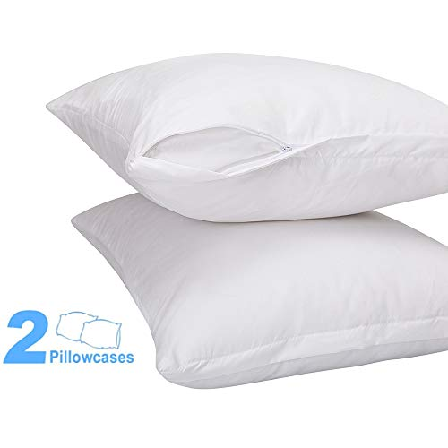 DOWNCOOL 2 Pack Premium Zippered Pillow Protectors- Softness & Breathable Pillowcase Cover- Protection Clean Control- Twin/Twin XL, 20x26