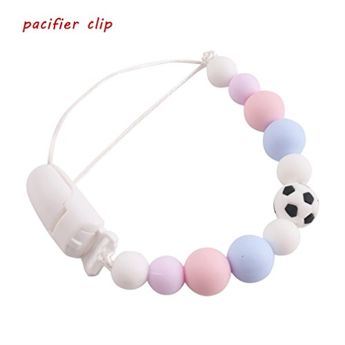 Baby Gift Nursing Pacifier Clip Silicone Universal Clip with Soccer Beads Teething Accessories by Biter teether