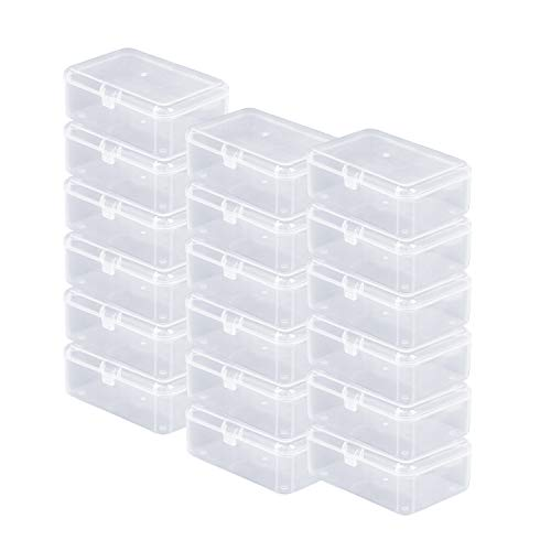 24 Pack Small Clear Plastic Storage Containers with Lids,Beads Storage Box with Hinged Lid for Beads,Earplugs,Pins, Small Items, Crafts, Jewelry, Hardware (2.12 x 2.12 x 0.79 Inches) (24 Pack)