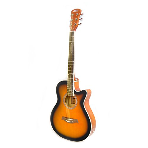 Pyle PGA36 - Cutaway Dreadnought Electric Acoustic Guitar - Built in Preamp and Pickup - Sunburst