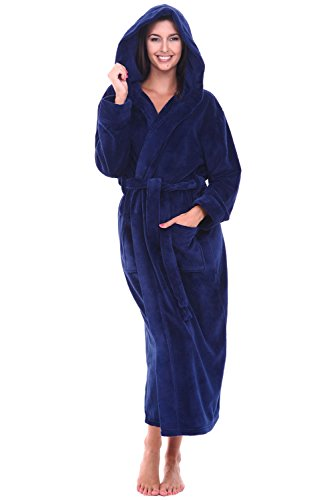 Blue Hooded Robe (Alexander Del Rossa Womens Fleece Robe, Long Hooded Bathrobe, 1X 2X Navy Blue (A0116NBL2X))