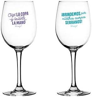 Mr. Wonderful Set de 2 Copas de Vino para brindar por Nuestra Amistad, Multicolor, Única