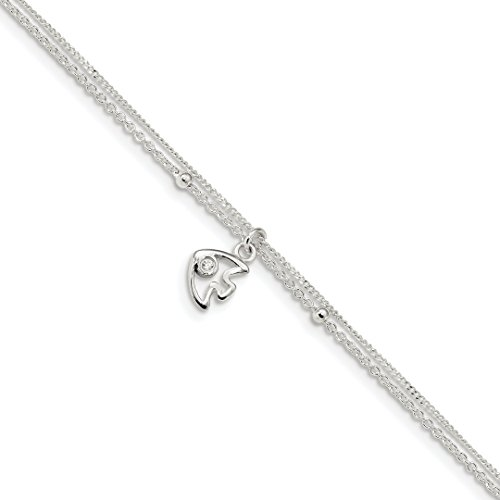 ICE CARATS 925 Sterling Silver 2 Strand Cubic Zirconia Cz Fish 9 Inch 1 Adjustable Chain Plus Size Extender Anklet Ankle Beach Bracelet Fine Jewelry Gift Set For Women Heart (Zirconia Fish Bracelets)