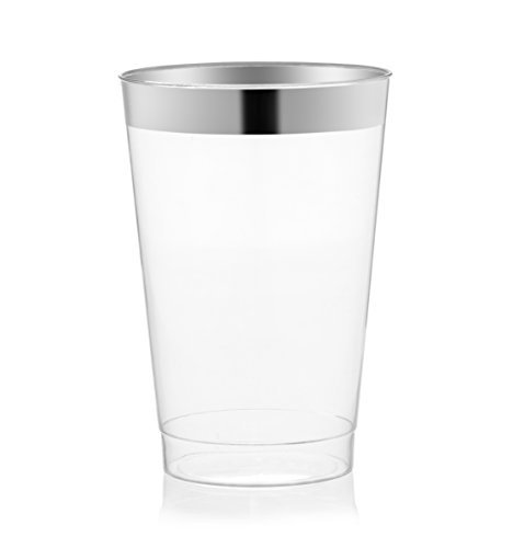 DRINKET Silver Plastic Cups 14 oz Clear Plastic Cups / Tumblers Fancy Plastic Wedding Cups With Silver Rim 50 Ct Disposable For Party Holiday and Occasions SUPER VALUE PACK -
