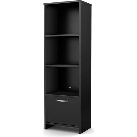 South Shore SoHo 3-Shelf Bookcase/Media Storage, Black
