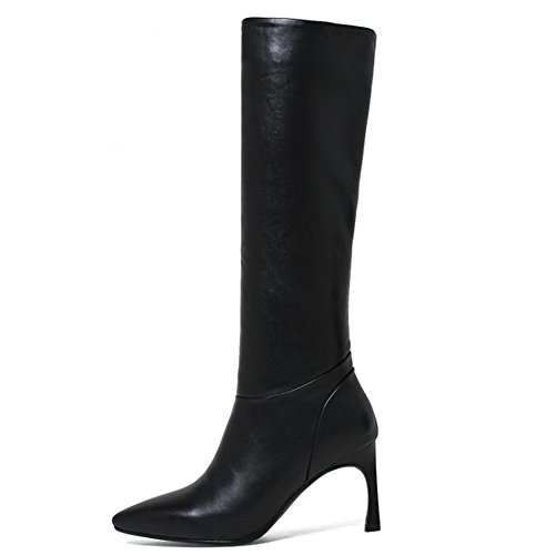 MERUMOTE Women's Knee High Boots,2017 Spring Winter Autumn Leather Shoes Cone Heels Booties Black