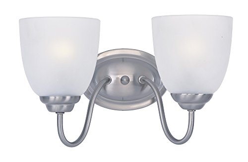 Maxim 10072FTSN Stefan 2-Light Bath Vanity, Satin Nickel Finish, Frosted Glass, MB Incandescent Incandescent Bulb , 100W Max., Dry Safety Rating, Standard Dimmable, Glass Shade Material, 3450 Rated Lumens - Maxim Dome Light