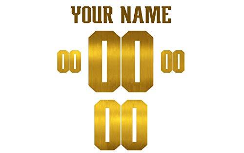 Jersey Lettering Kit - Custom Glitter, Glow in Dark, Metallic, Reflective, Hologram Vinyl Iron-on Transfer Shirt Name and Number Kits for Custom American Football Jerseys,Shirts,Clothing (Gold Metallic)