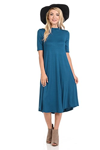iconic luxe Women's Mock Neck Trapeze Midi Dress X-Large Teal