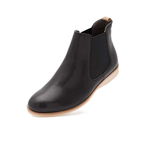 Rollie Women's Chelsea Cognac, Slip On Leather Ankle Booties Brown Flat Boots for Women with Elastic Panels, Size 10 US / 41 EU...