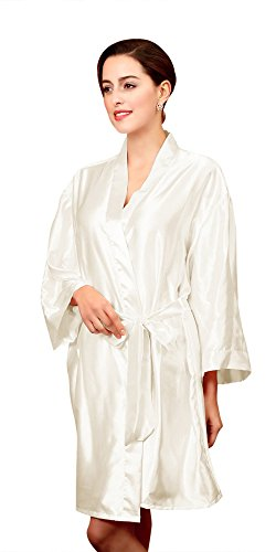 Olivery Womens Faux Silk Kimono Robe Knee Length Lingerie Sleepwear Nightgown - White (Texere Silk Robe)