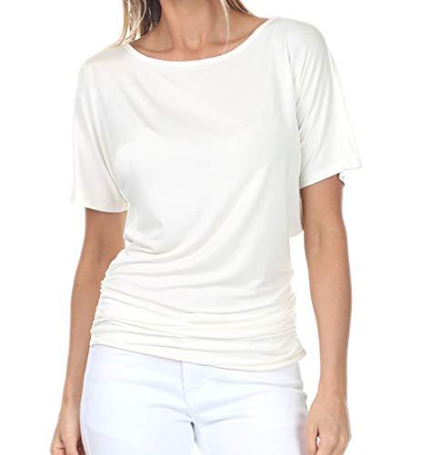 iliad USA 7002 Womens Boat Neck Short Sleeve Dolman Drape Top with Side Shirring Off-White 2XL