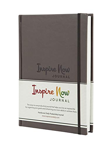 'INSPIRE NOW JOURNAL - A5 Daily Productivity Planner, Daily Organiser, Weekly Planner, Set and Achieve Your Goals, Get Things Done (Grey - Brown)