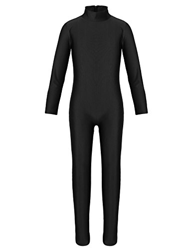 Dancewear Unitard (YiZYiF Kids Little Girls Boys Spandex Long Sleeve Full Body Unitard Skin Tight Dance Costumes Black 3-4)
