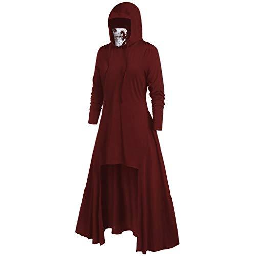 HomeMals Halloween Women's Skeleton Long Sleeve Maxi Dress Mask Skull Pure Color Pullover