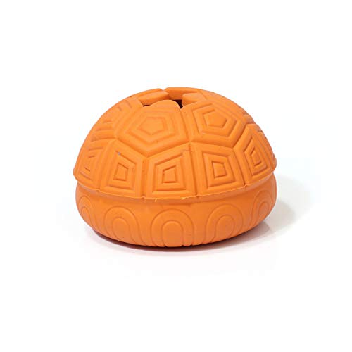Dog Toy Interactive Rubber Tortoise Leaky Feeding Ball Resistant to Bite Molar Pet Dog Chew Toys Tooth Cleaning Ball Training,Orange,M ()