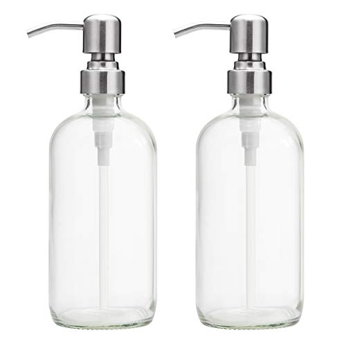 AmazerBath 2-Pack Soap Dispensers, 16 OZ Clear Glass Soap Bottles with Stainless Steel Pump Hand Soap Lotion Dispensers…