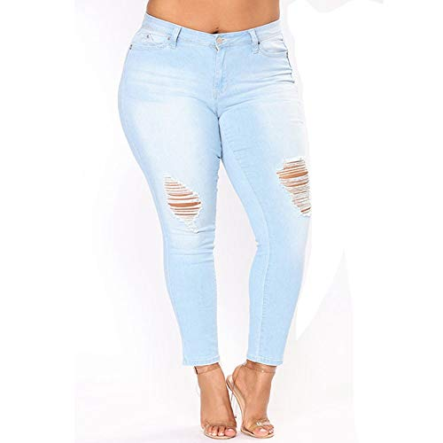 DAMENGXIANG Moda Femenina Agujeros Pantalones Vaqueros De Talle Alto Bordado De Gran Tamaño Wathet