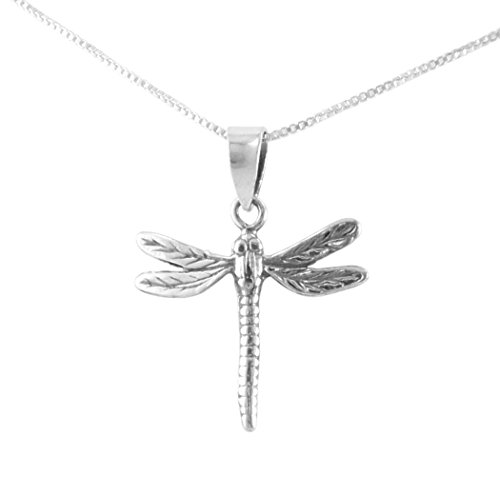 Sterling Silver Dragonfly Open Wings Charm Pendant Necklace, 18