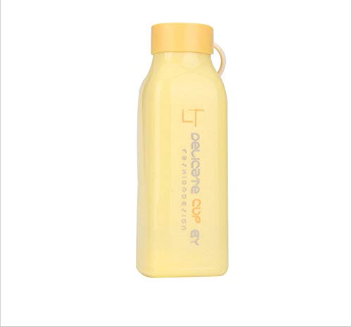 HOT HOT New creative square cup fashion glass plastic shell glass cup gift milkshake bottles shaker bottle sports water- Kitchen tools for women, men and ()