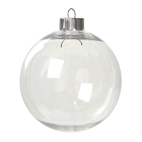 (Kanonaki Case of 32 Clear Plastic Round Ball Ornaments - The Look of Glass)