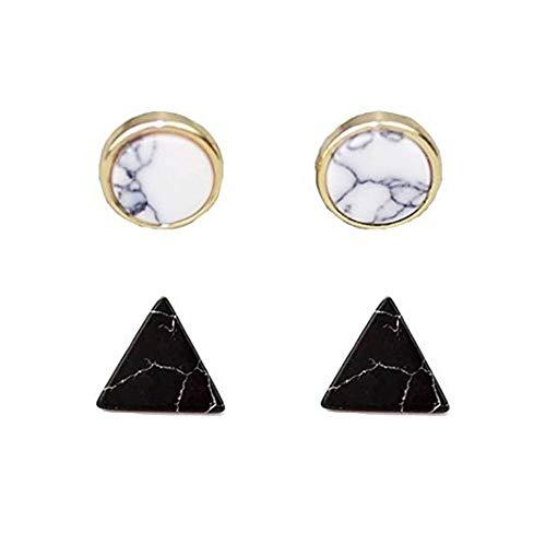 2 Pairs Fashion Round Shape Marble Stone Push Back Stud Earrings Set Jewelry for Women (Round White+Tringle Black)