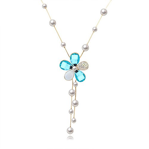 """Flower Pearls Style Alloy Pearl Long Sweater Chain Pendant Necklace, 32"""", Blue"""