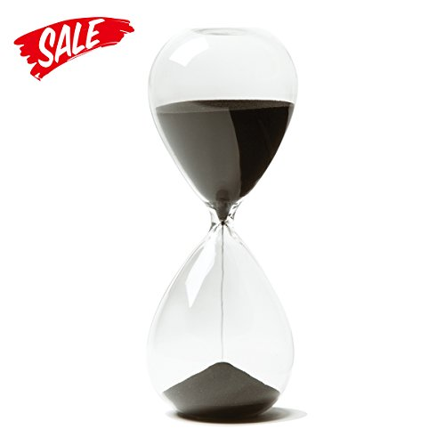 Hourglass, HoveBeaty Hand-Blown Sand Timer Set for Time Management 15 Minutes Durable Glass Construction (15 min, black) (15 Min Sand Timer)