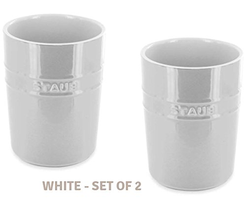 Ceramic Utensil Holder (2, White) by Home Star Innovation