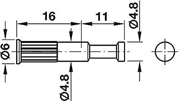Nolte 4 x SK-D/übel Endbolzen Au/ßenseite Verbindungsstift Schrankverbinder