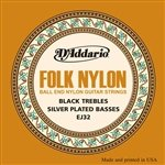3-Pack D'Addario EJ32 Folk Nylon, Ball End, Silver Wound/Black Nylon Trebles