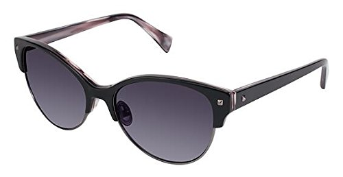 Nicole Miller Verdi Sunglasses - Frame Black/Sand Dune, Lens Color Dark Grey Gradient, ()