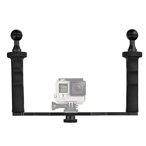D&F Aluminium Alloy Dual Handheld Hand Grip Video Stabilizer for GoPro 6/5/4/3+/3 SJCAM SJ4000/5000/6000 Yi & Camera Camcorder LED Light & Underwater Dome