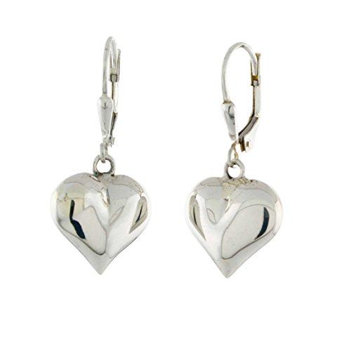 Heart Leverback Earrings - Sterling Silver Puffy Heart Leverback Earrings