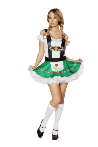 Roma Costume Women's 2 piece Sexy Hoffbrau Lady, White/Green, Small/Medium