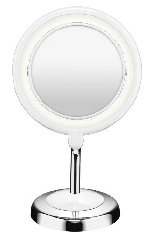 Conair Double-Sided Lighted Makeup Mirror - Lighted Vanity Makeup Mirror with LED Lights; 1x/3x magnification; Chrome / White Finish